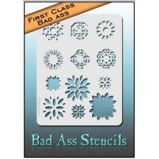 First Class Bad Ass Stencil 4012 Three Layer Flower Burst